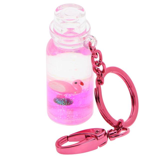 Rounded bottle liquid keychain