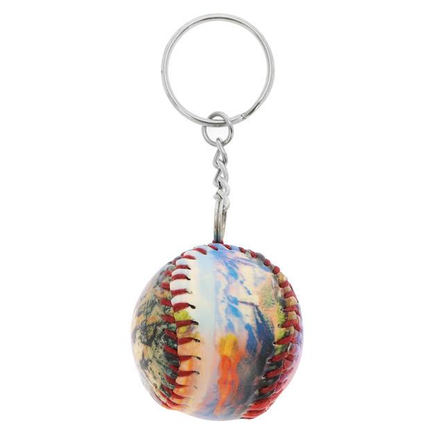 Leather baseball keychain