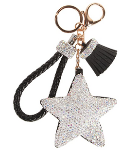 Bling star leather keychain