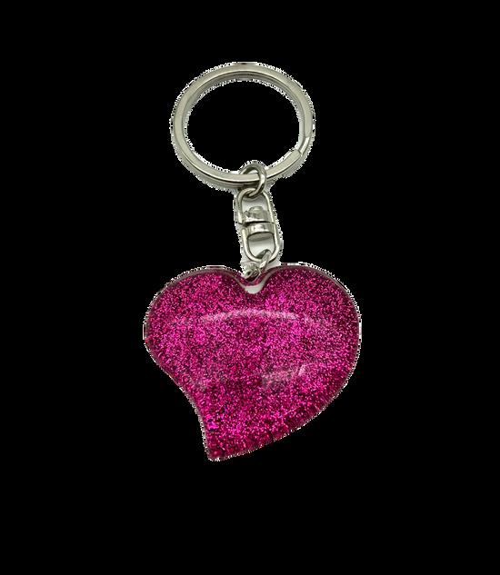 Pink heart-shaped keychain