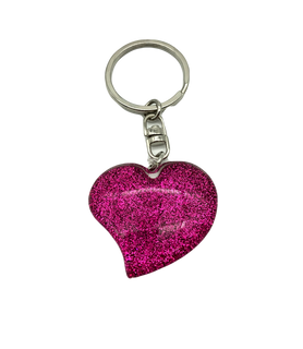 Pink heart-shaped keychain