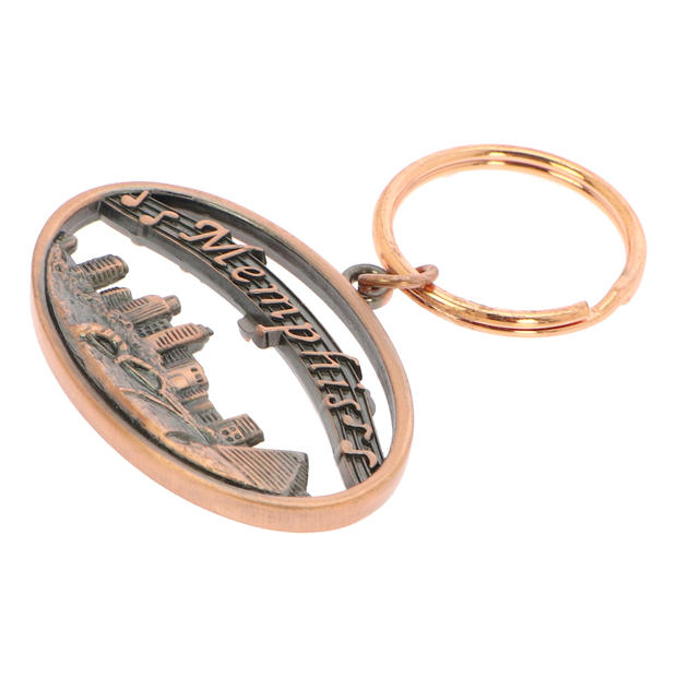 Metal Oval-shaped Keychain