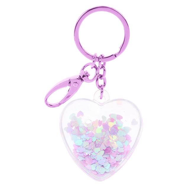 Heart-shaped plastic keychain