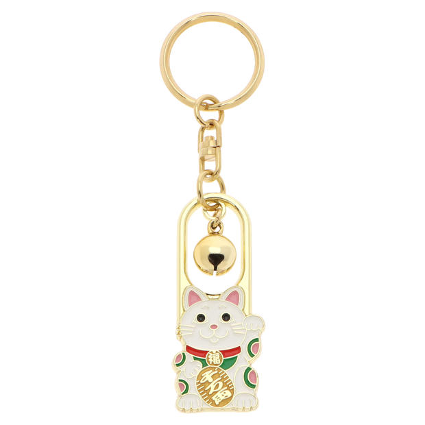Lucky Cat Keychain with Metal Bell