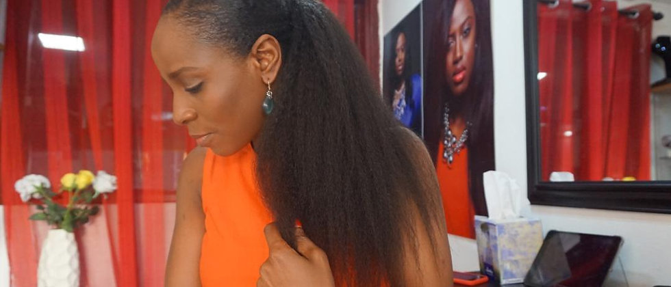 Afro blown ponytail extensions