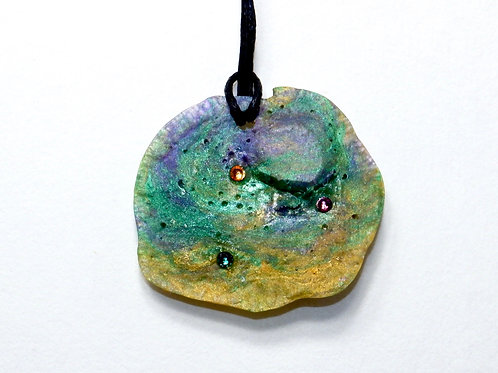 Rainbow Green Neofossil Pendant with Swarovski Crystals