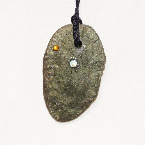 Forest Green Neo-Fossil Pendant with stones
