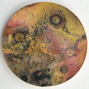 "©2018 Janet Maher, Gaia: Petri #3, mm drawing; heat set copier toner with gouache wash and colored pencils on paper, on wooden disk w.painted edge, 5"" diameter x ¼"""