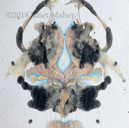 "©2018 Janet Maher, Rorschach #3, mm drawing; screenprint inks on paper, graphite and colored pencils; Image size: 11"" x 9 ½""; matted and framed: 16"" x 15"""