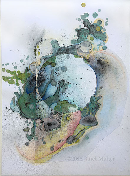"""©2018 Janet Maher, Gaia: Origin #2, mm drawing, heat set copier toner with gouache wash and collage, completed with colored pencils; image size: 15"""" x 10 7/8""""; matted and framed 22"""" x 17"""""""