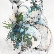 """©2018 Janet Maher, Gaia: Origin #3, mm drawing, heat set copier toner, collage, attachment, colored & graphite pencils; image size: 16"""" x 13""""; matted and framed 22"""" x 17"""""""