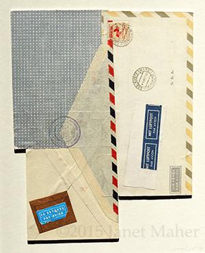 "©2015/2017 Janet Maher, Armchair Traveler: Brasil; postal and paper ephemera on matboard, framed 17"" x 13"""