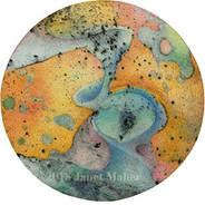 """©2018 Janet Maher, Gaia: Petri #5, mm drawing; heat set copier toner with gouache wash and colored pencils on paper, on wooden disk w.painted edge, 5"""" diameter x ¼"""""""