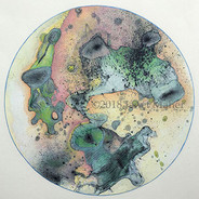 """©2018 Janet Maher, Gaia: Specimen #4, mm collage drawing; toner copier collé on printmaking paper (remaining plate from a wintergreen oil transfer print), completed with colored pencils; image size: 9.5"""" diameter; paper: 13"""" sq.; matted and framed 16"""" sq."""