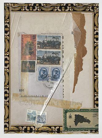 "©2017 Janet Maher, Armchair Traveler: Guara, postal and other ephemera on digital print w/drawing, framed 20"" x 17"""
