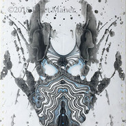 """©2018 Janet Maher, Rorschach #2, mm drawing; screenprint inks on paper, graphite and colored pencils; Image size: 11"""" x 9 ½""""; matted and framed: 16"""" x 15"""""""