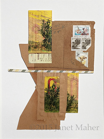 ©2016 Janet Maher, Armchair Traveler #4, While You Were Out; postal ephemera on board w/collage, with drawing
