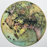 """©2018 Janet Maher, Gaia: Specimen #2, mm monoprint; wintergreen oil transfer print, completed with colored pencils; image size: 9.5"""" diameter; paper: 13"""" sq.; matted and framed 16"""" sq."""