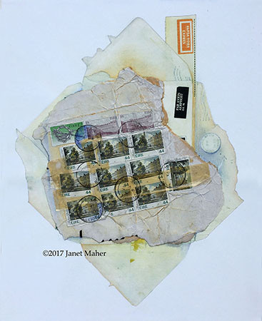 "©2017 Janet Maher, Armchair Traveler: Eire, postal ephemera on digital print w/collage and drawing, framed 22"" x 17"""