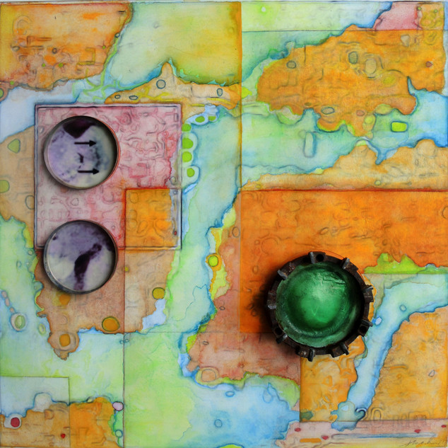 """©2018 Janet Maher, Mapping the Invisible #3 Redux: Chasmoendolithic Habitat; mm painting & drawing w.attachments; image: 15.25"""" x 15.266"""" x 1""""; framed 22"""" x 2"""""""