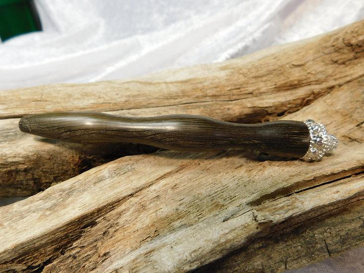 Häkelnadel Holz, Mooreiche mit Zierteilen