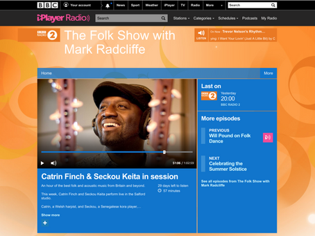 Catrin Finch & Seckou Keita live in session on Mark Radcliffe's BBC Radio 2 Folk Show