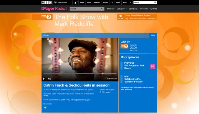 Catrin & Seckou live in session on  Mark Radcliffe's BBC Radio 2 Folk Show