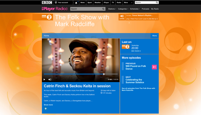 Catrin & Seckou live in session on  Mark Radcliffe's BBC Radio 2 Folk Show