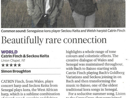 5 * Live reviews for Catrin Finch & Seckou Keita @ Union Chapel