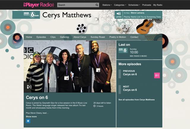 GWYNETH GLYN ON CERYS MATTHEWS BBC 6 MUSIC SHOW