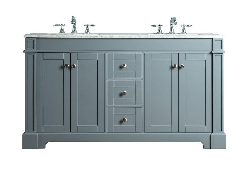 "Seine 60"" Grey Double Sink Vanity"