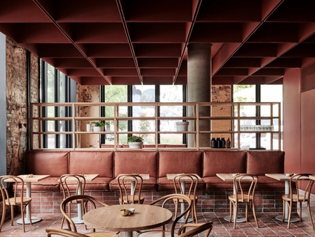 Bentwood's Red Blue brick tiles create a wonderful synergy in Fitzroy