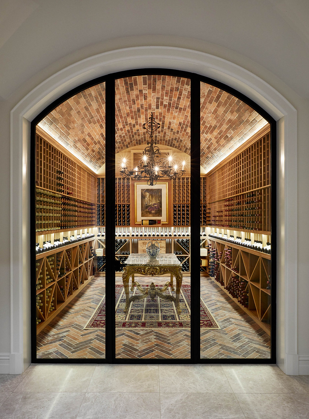 Tan Rustic Brick Tiles, Toorak Wine Cellar