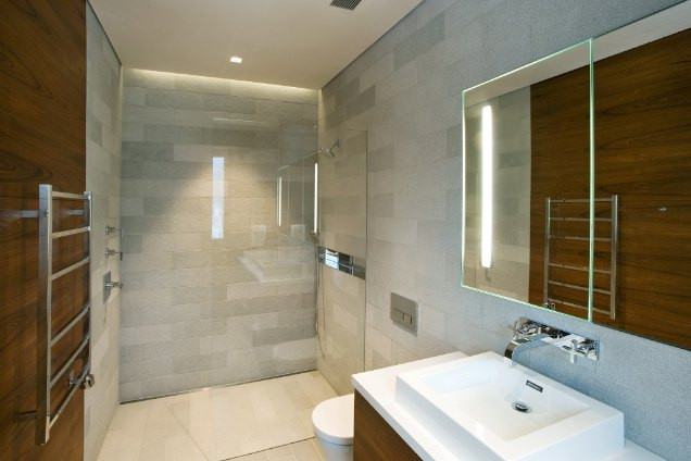 New pearl limestone used as bathroom tiles