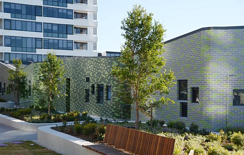 Grey and Green Glazed bricks, custom curves
