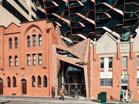 Krause Old Melbourne Town bricks form an engaging podium and entry portal at 271 Spring Street