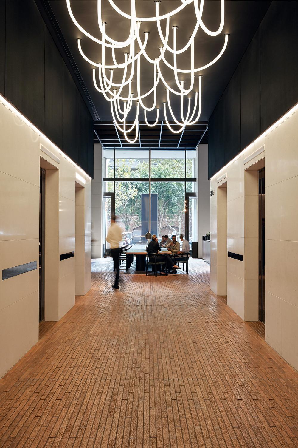 Custom made Albicocca Arazzo bricks, Southbank lobby
