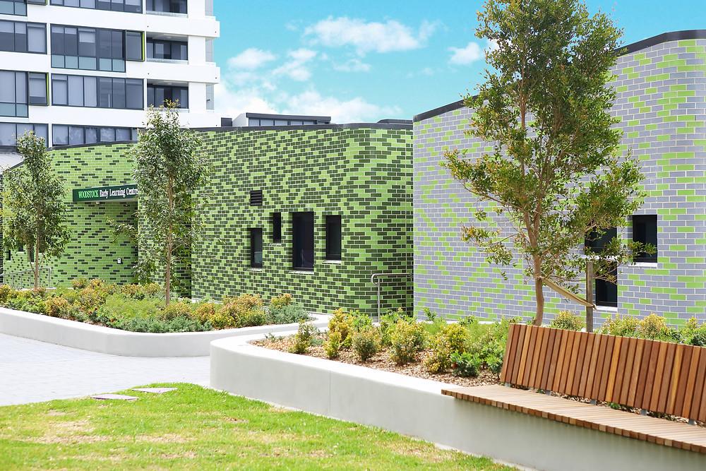 Glazed bricks with custom curves at Woodstock ELC. Image courtesy Ecove