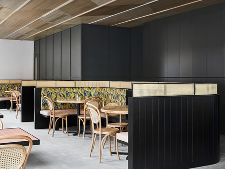 Ash Grey brick tiles beautifully complement Nine Yards' Australian-inspired café design