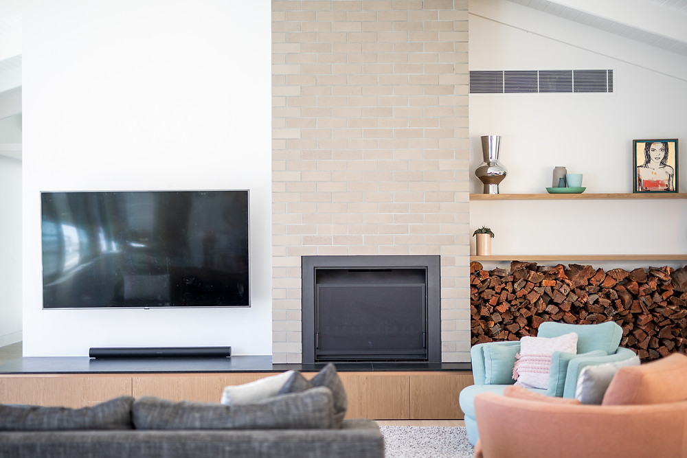 Ash Grey Brick tiles on the fireplace surround
