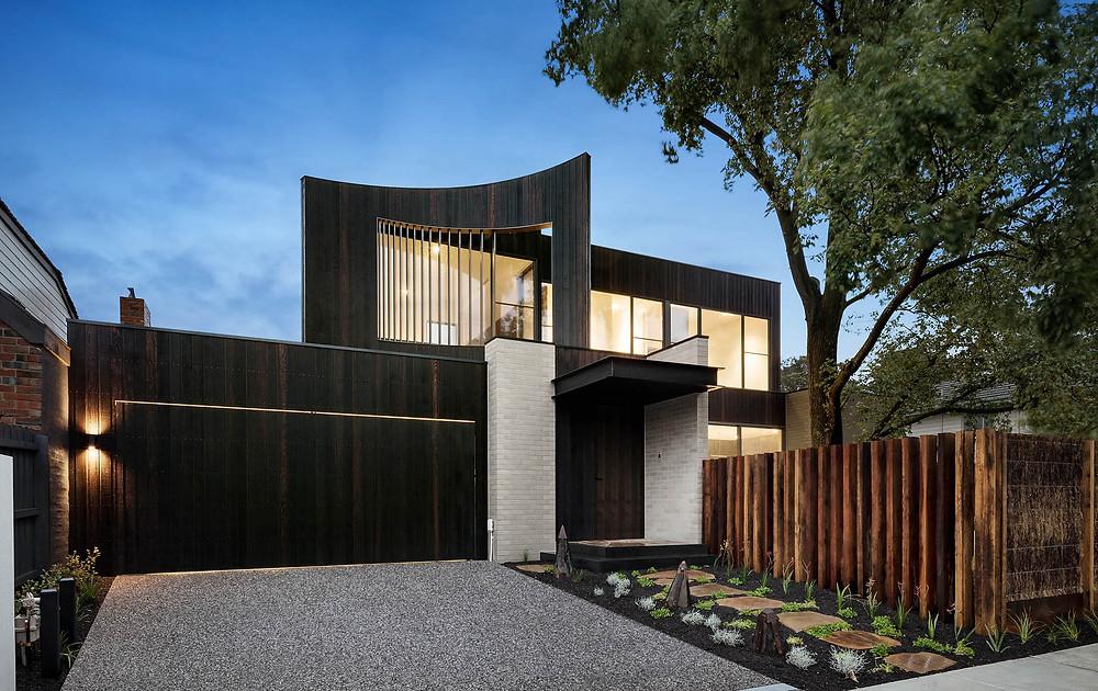 Reid House, Ash Grey Brick Tile entrance, Image: Urban Angles Creative