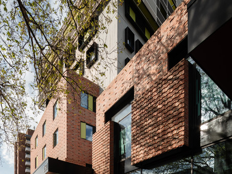 The spectacular façade of Ozanam House creates a gateway to the city of Melbourne