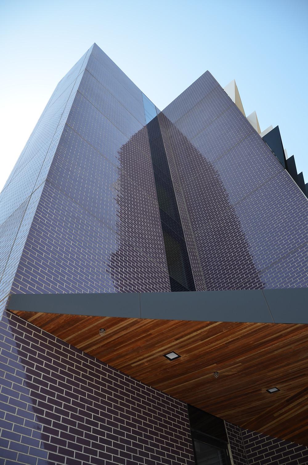 Logan Hall, Monash Uni, constructed with brick inlay