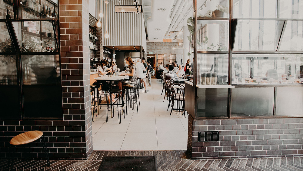 Iron Mountain brick tiles, Stovetop Cafe dining room, Carlton