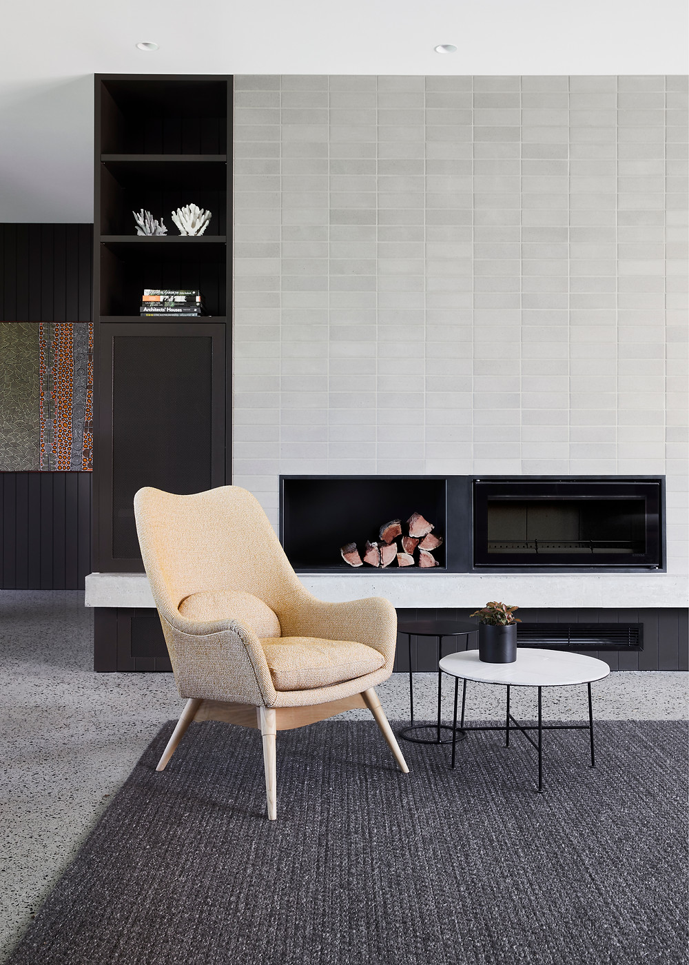 Ash Grey Brick Tiles, Chimey Breast. Image: Armelle Habib