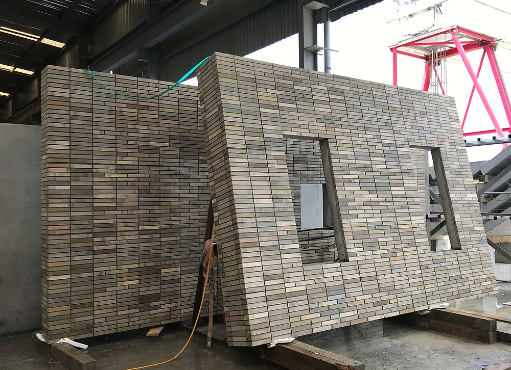 Mick-up Brick Inlay panels used for testing at The Hotel Britomart