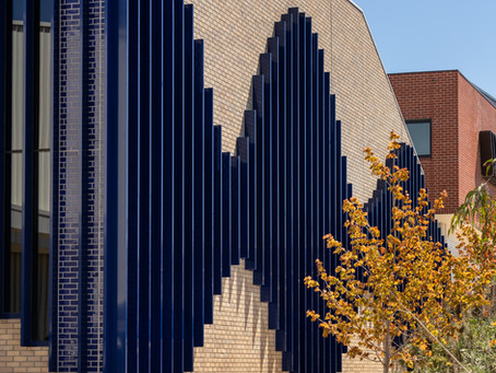 A spectacular motif combines art and architecture, bringing a unique college façade to life