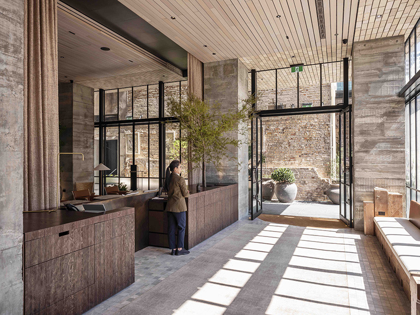 Laneway Lobby, The Hotel Britomart, and the brick inlay soffit