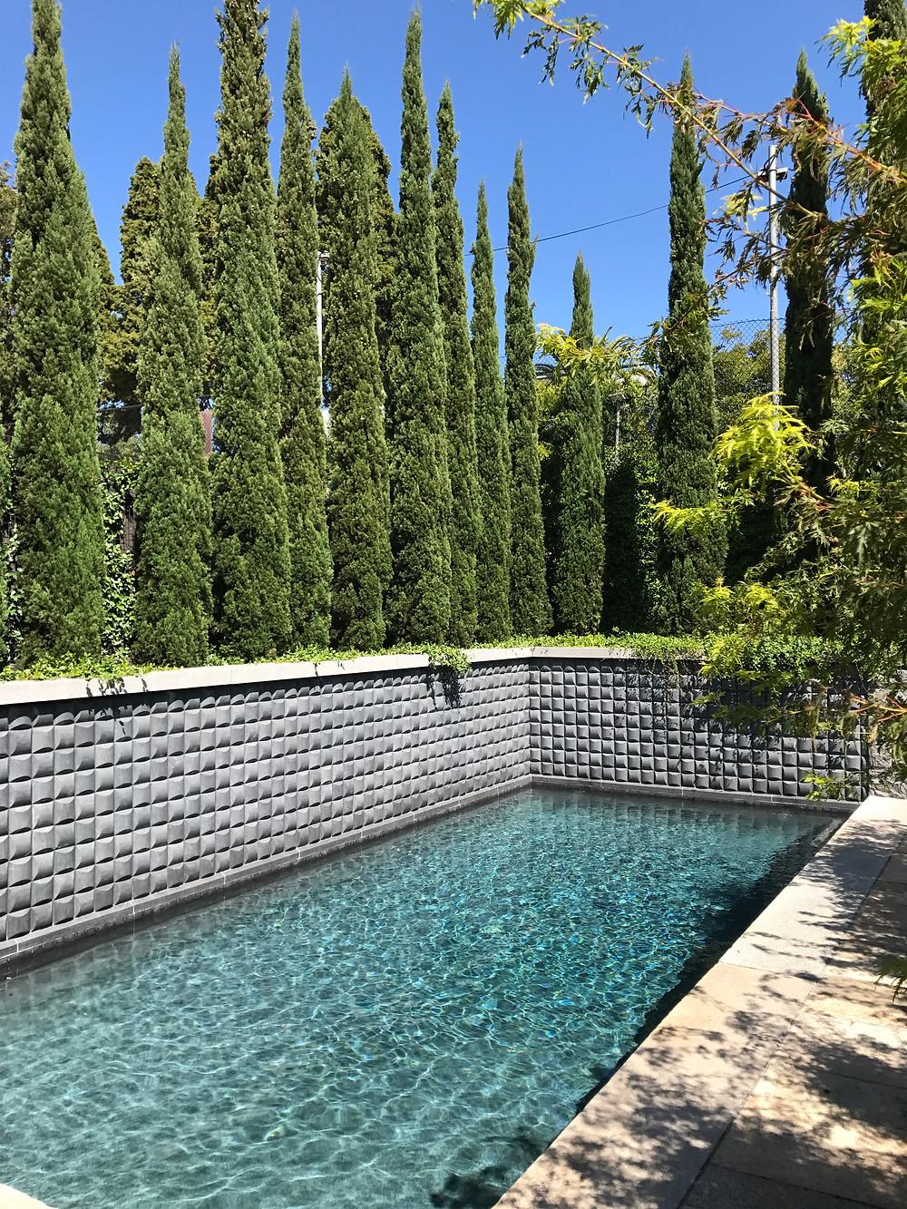 Herons' Egg granite pool wall, tiles, wall caps and veneer