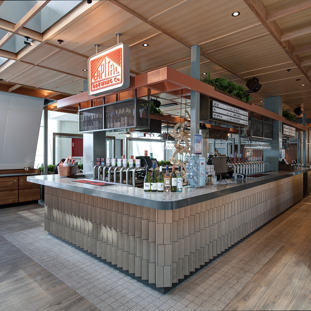 Ash Grey brick tiles, CBC Tap Room, Canberra Airport
